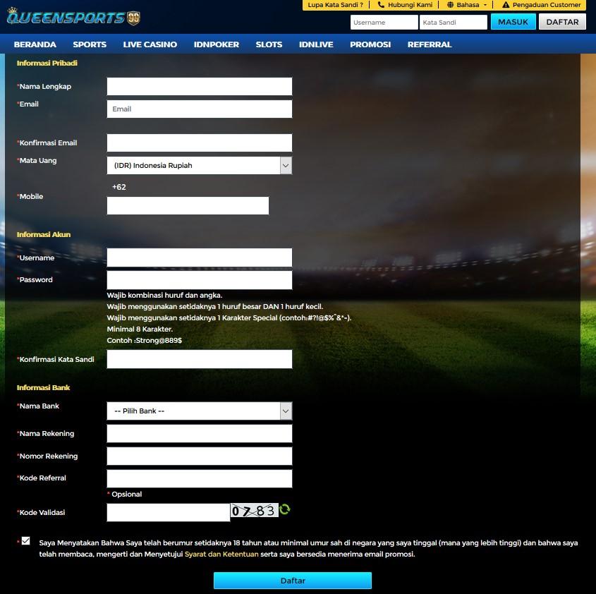 form daftar queensports99